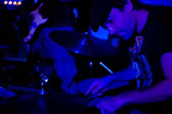 "Greg Lavender playing drums on ""Thunderstruck"" at Equinox Bar, Phnom Penh"
